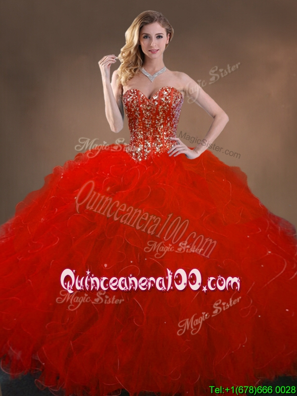Simple Ball Gown Beaded and Ruffles Quinceanera Gowns in Red