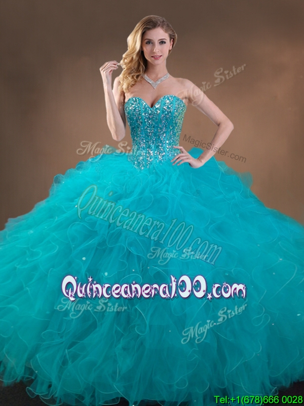 Top Teal Sweet 16 Gown with Beading and Ruffles
