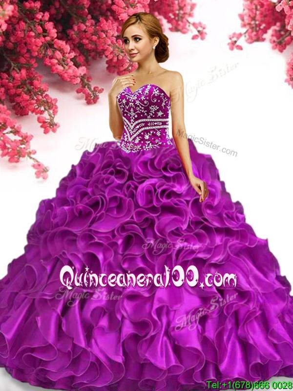 f1d9c03327c Hot Sale Organza Fuchsia Quinceanera Dress with Beading and Ruffles. triumph