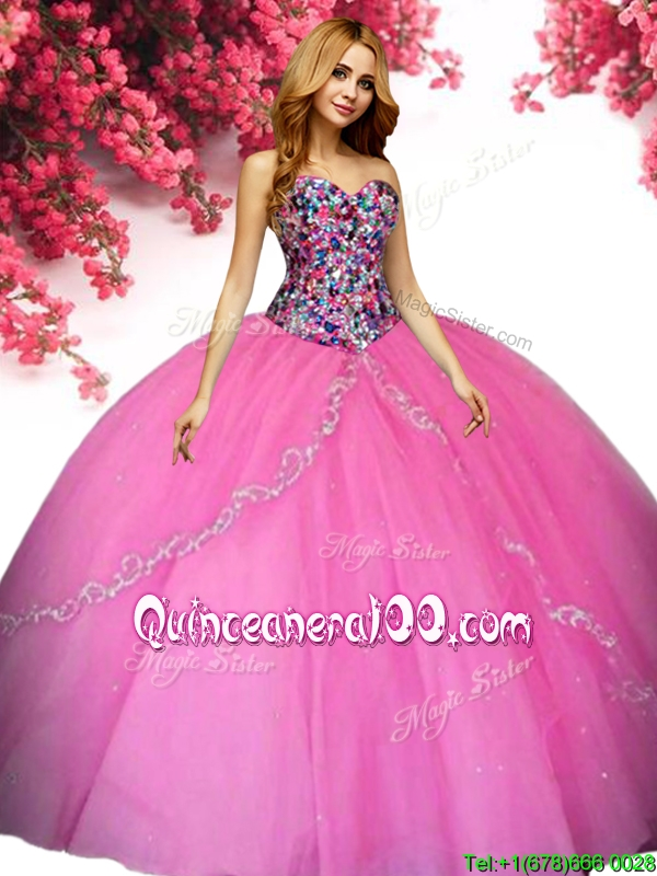 90bfc004ed1 Latest Big Puffy Tulle Quinceanera Dress with Beading and Appliques. triumph