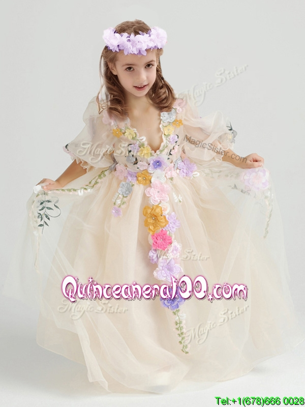 Elegant V Neck Half Sleeves Applique Flower Girl Dress in Champagne