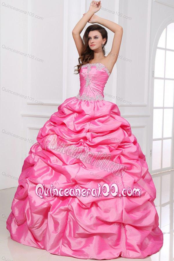 4821336f100 Strapless Appliques and Pick-ups Quinceanera Dress - Quinceanera 100