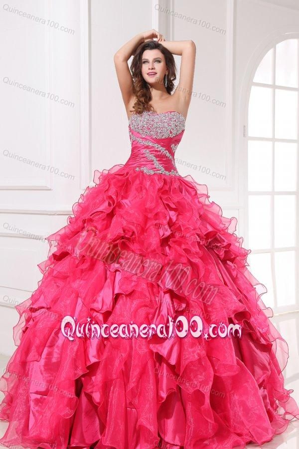 Sweetheart Beading and Ruffles Long Hot Pink Quinceanera Dress ...
