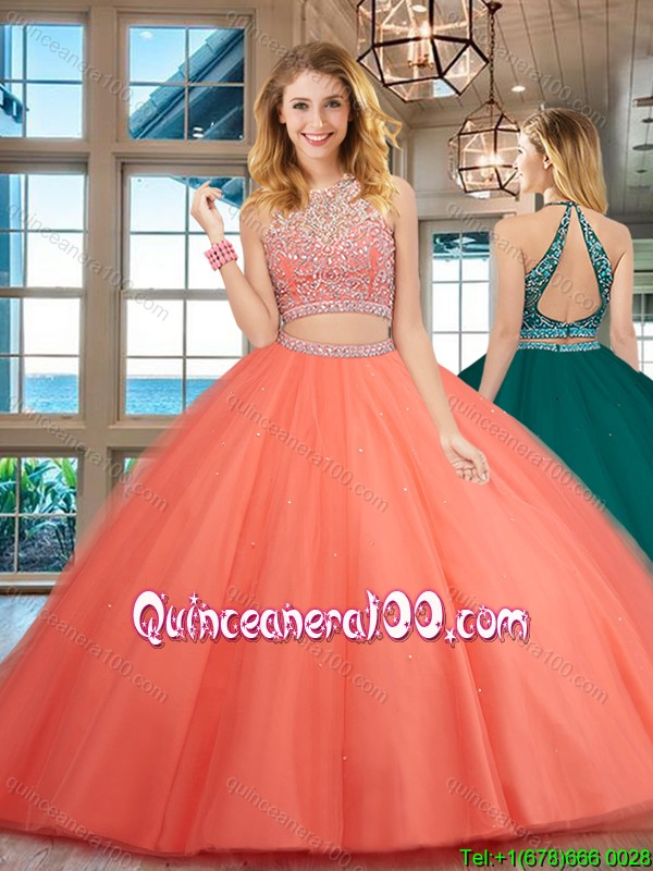 59c84781e5 Elegant Two Piece Open Back Tulle Beaded Quinceanera Dress in Rust Red.  triumph