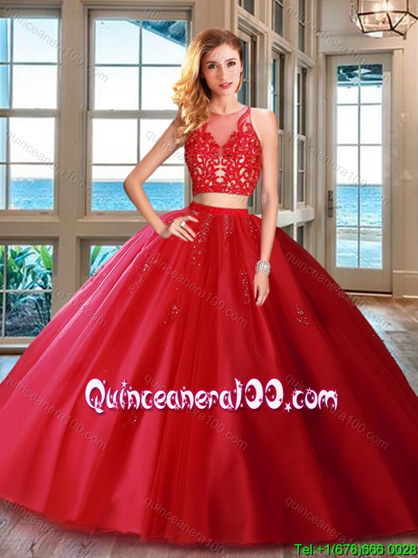 Cheap Two Piece Brush Train Applique Tulle Quinceanera