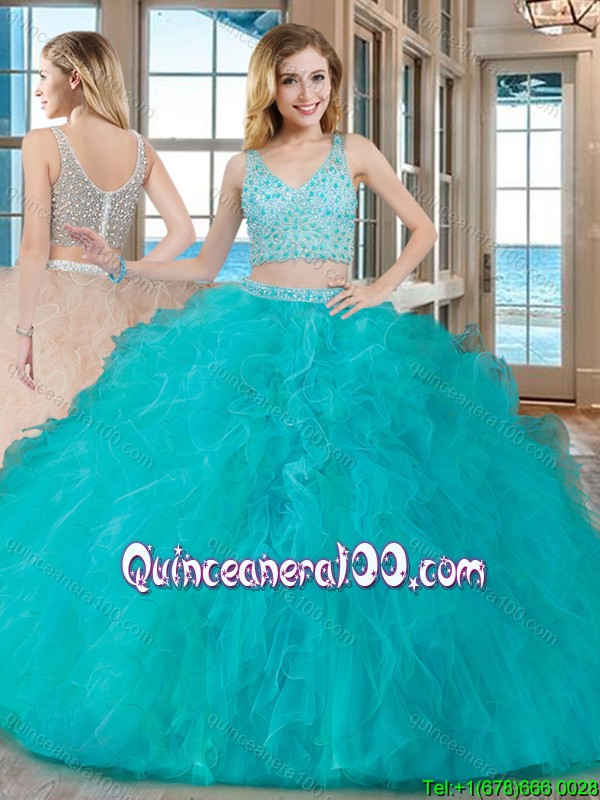 1e3a6d4b50b Puffy Ball Gown V Neck Tulle Two Piece Quinceanera Dresses with ...