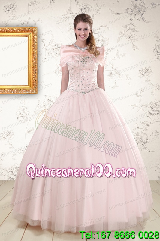2015 Most Popular Light Pink Beading Quinceanera Dresses
