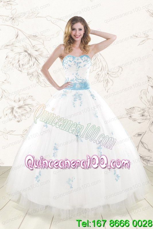 Cheap White Ball Gown Sweet 16 Dresses with Appliques and Beading ...