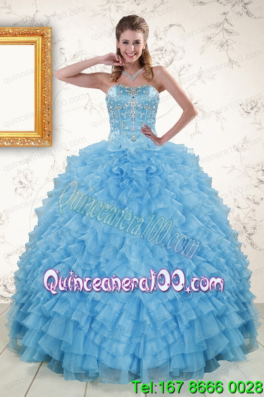 2015 Pretty Sweetheart Baby Blue Sweet 16 Dresses with Beading