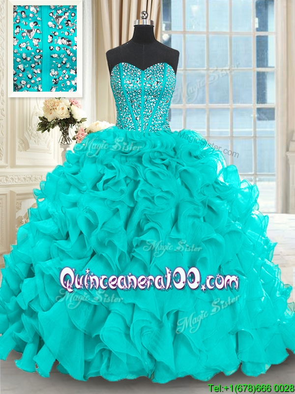 78ac7d59f29 Luxurious Visible Boning Beaded Bodice Aquamarine Quinceanera Dress with  Brush Train. triumph