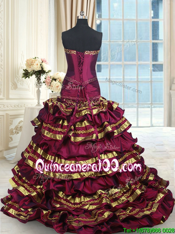 Hot Sale Bowknot Ruffled Layers Gold And Burgundy