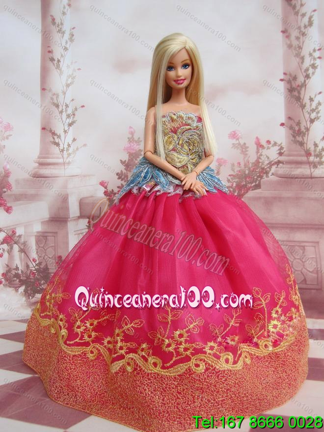 Elegant Ball Gown Organza Colorful Barbie Doll Dress - Quinceanera 100