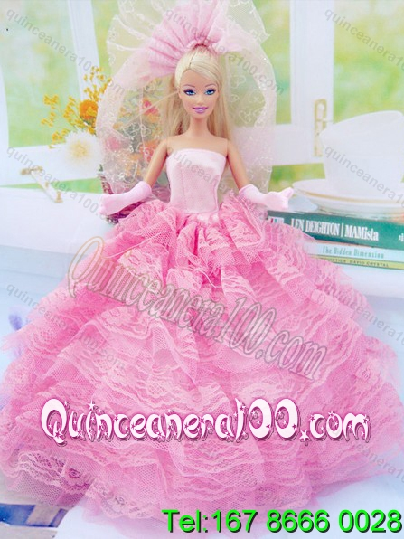 New Fashion Ball Gown Pink Dress Gown for Barbie Doll ...