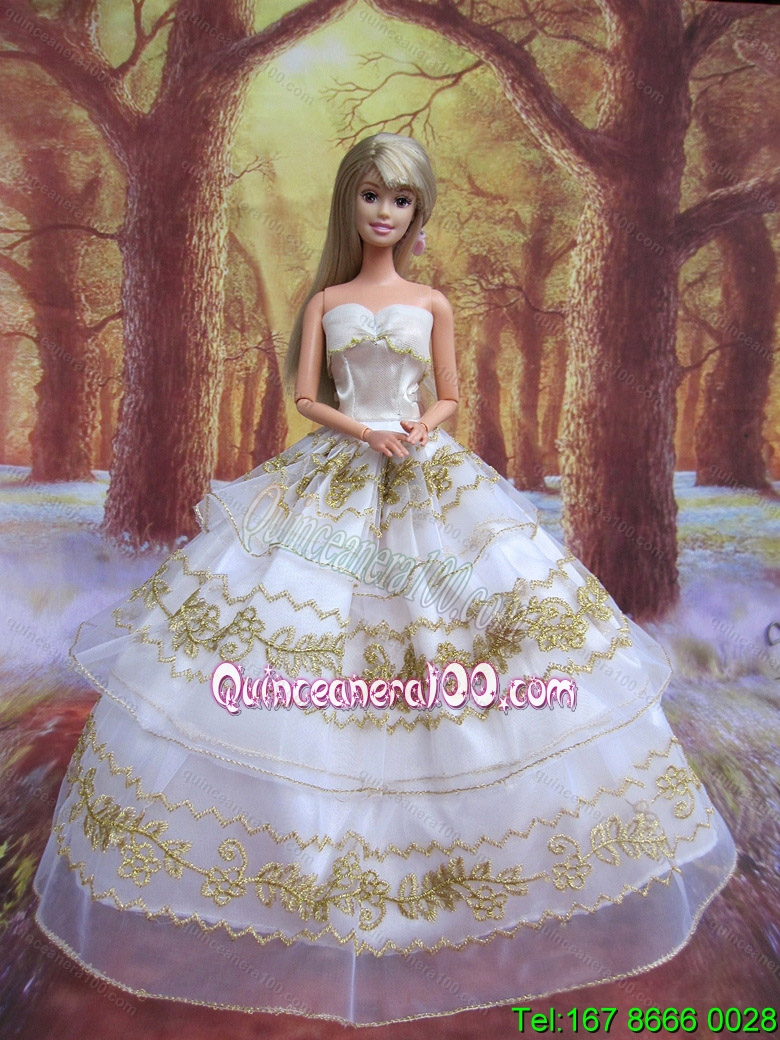 Perfect Wedding Clothes Embroidery Ball Gown Gown For Barbie Doll ...