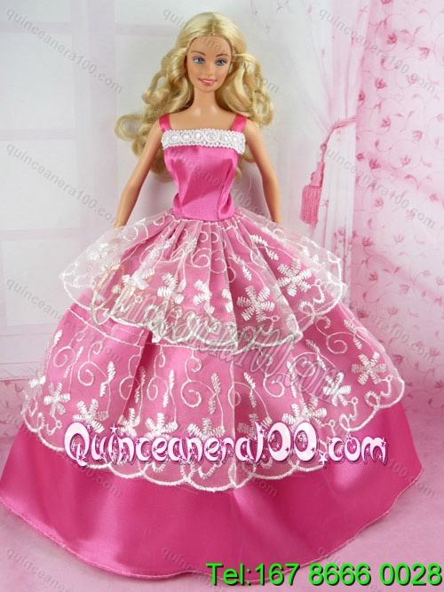 Beautiful Pink Gown With Embroidery For Barbie Doll - Quinceanera 100
