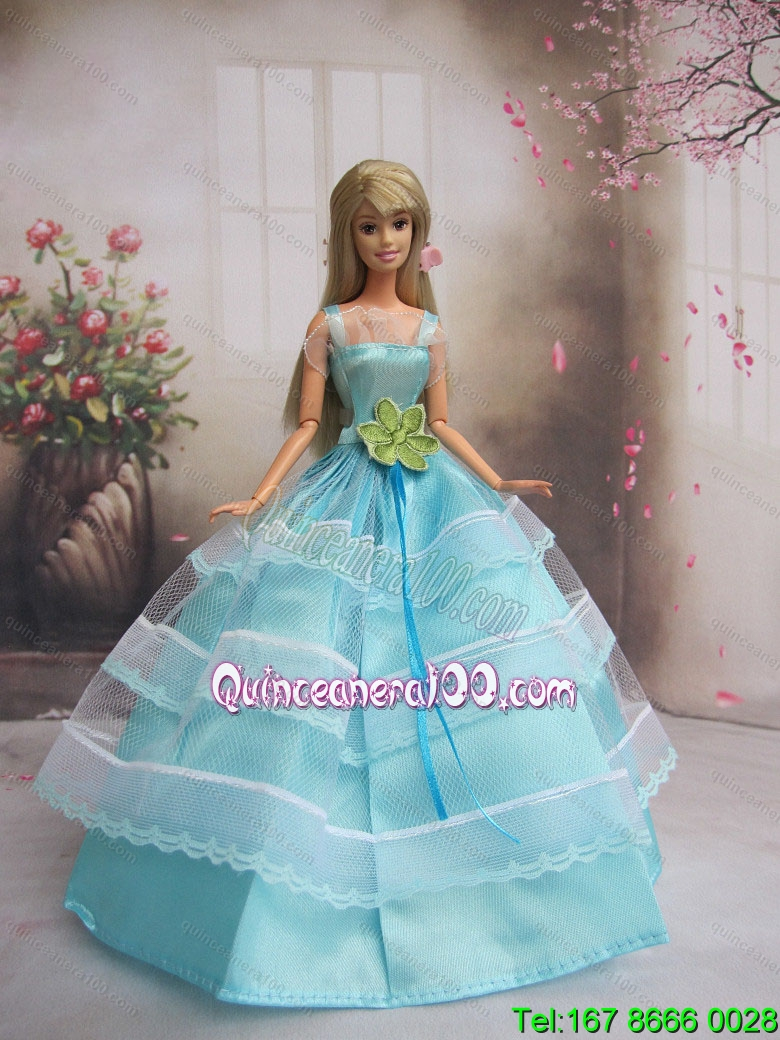 New Baby Blue Handmade With Sash Party Dress Barbie Clothes Gown For ...