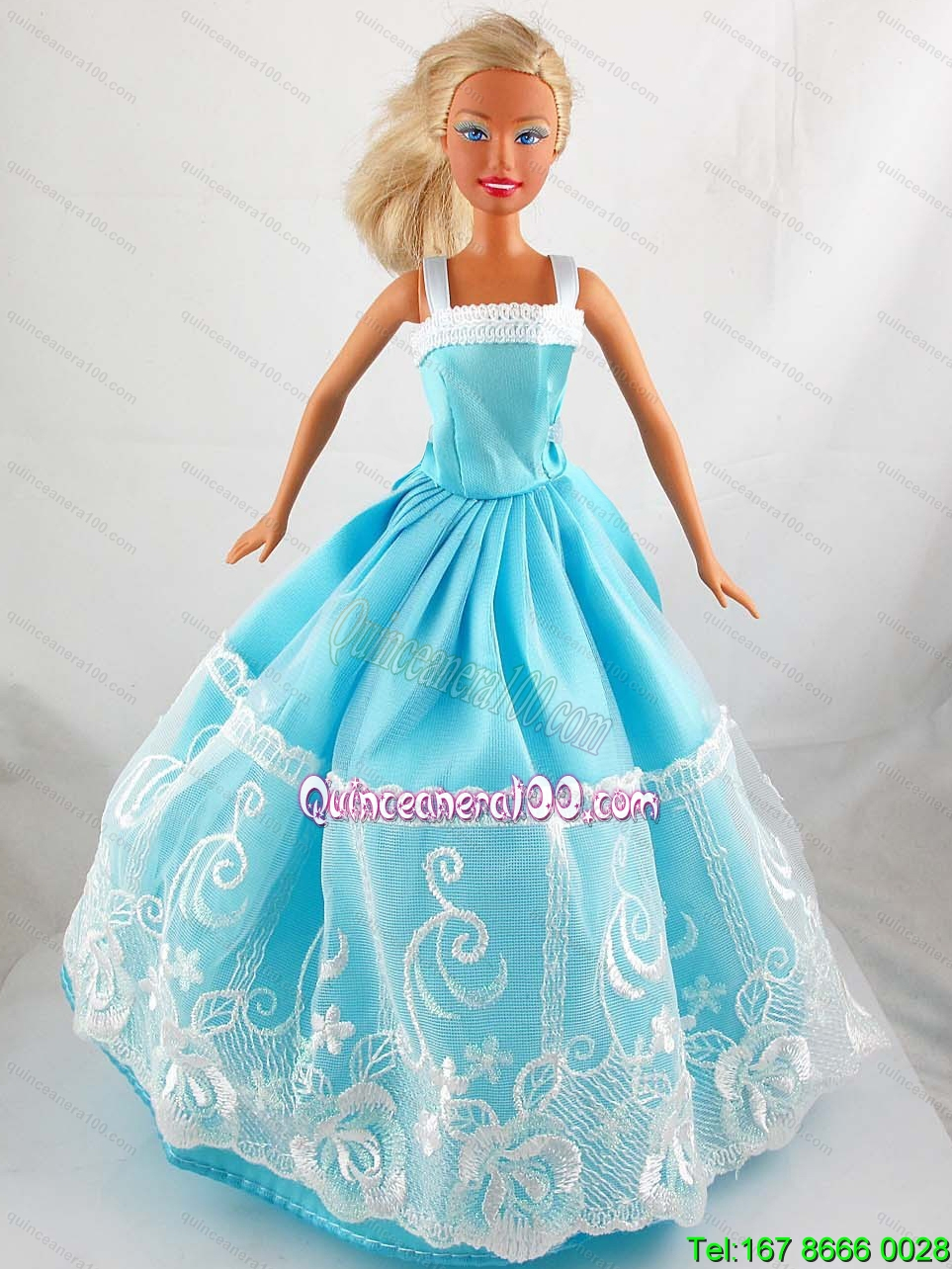 Pretty Blue Princess Dress With Lace Gown For Barbie Doll ...