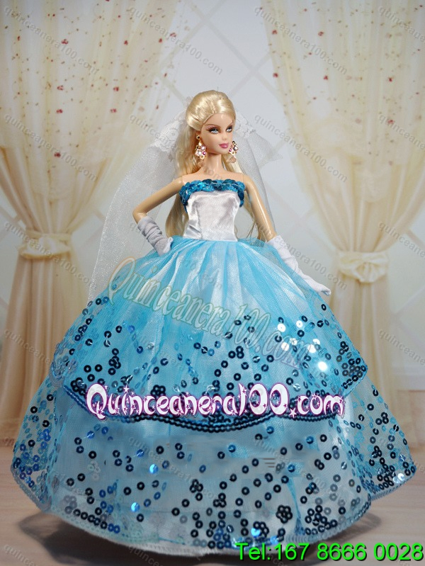 Popular Ball Gown Party Clothes White and Blue Barbie Doll Dress ...
