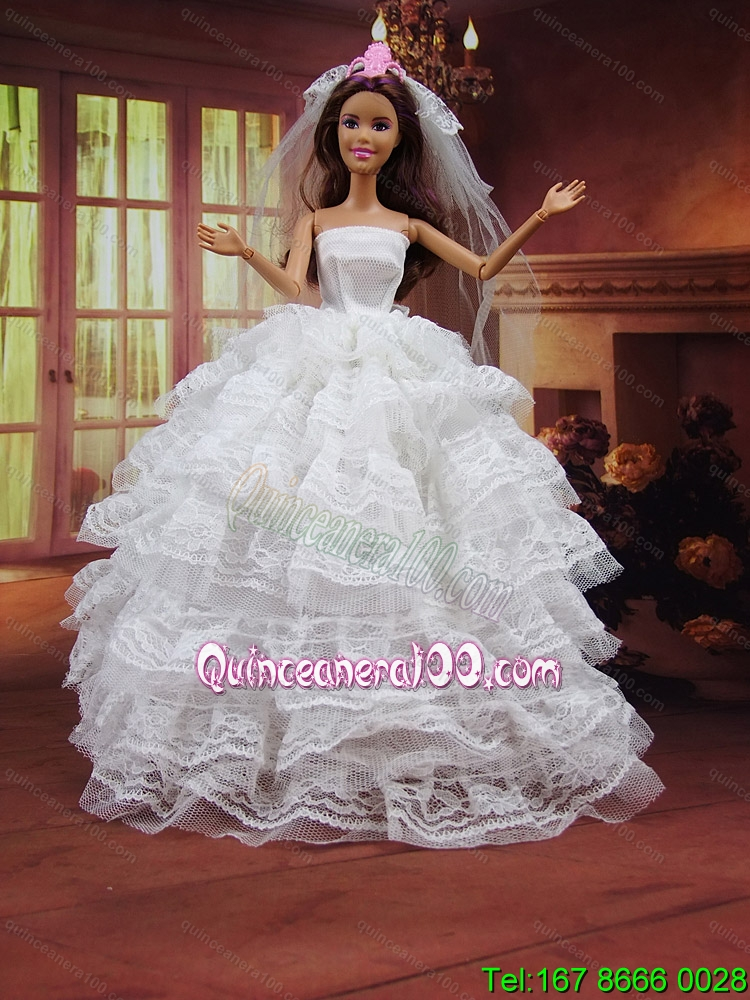 Romantic wedding dress to barbie doll with ruffled layers for Wedding dresses for barbie dolls