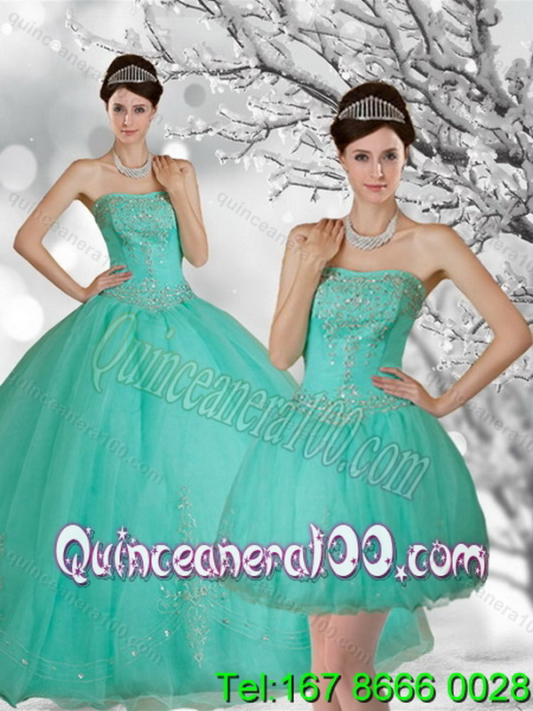 bf5c7a46d73 Strapless Spring Quinceanera Dresses with Appliques and Beading for 2015.  triumph