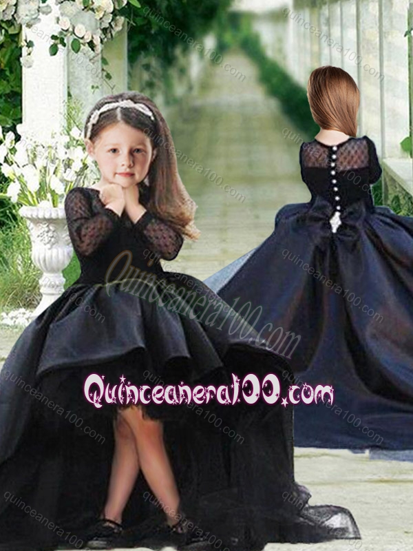 Romantic See Through Long Sleeves Little Girl Dress in Black
