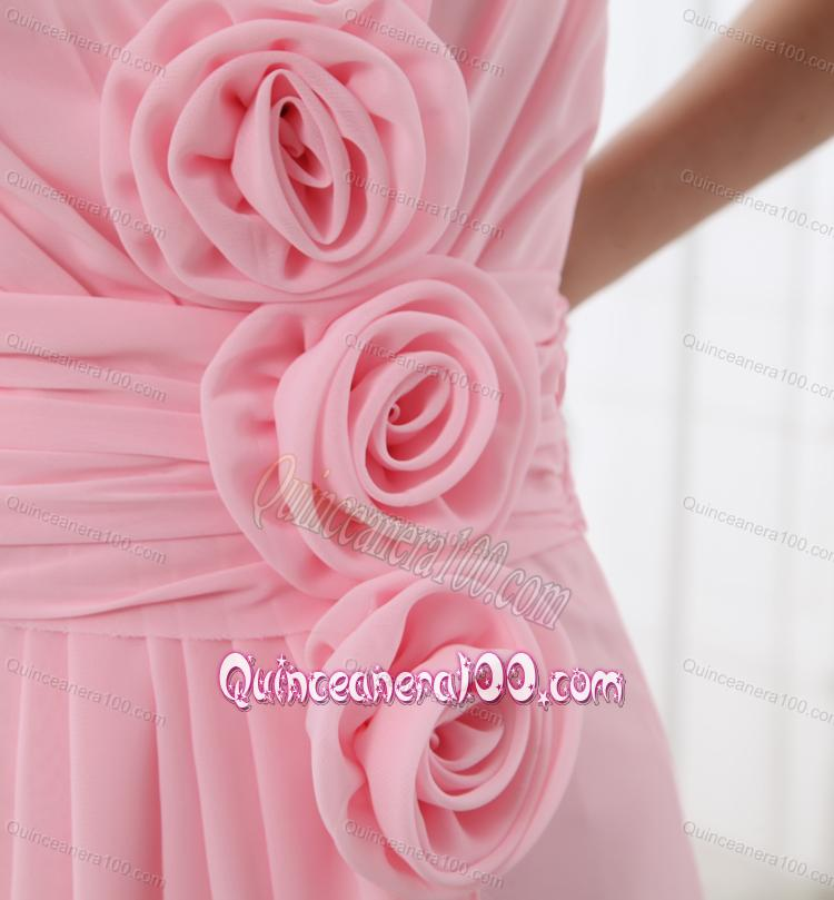 A Line Strapless Hand Made Flowers Chiffon Baby Pink Dresses For Dama