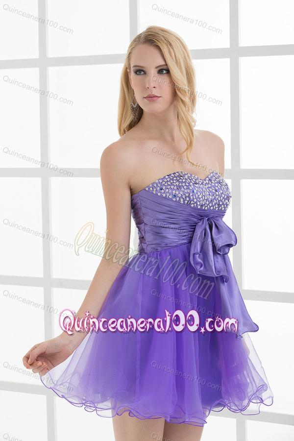 A-line Strapless Sleeveless Beading and Ruching Dama Dresses ...