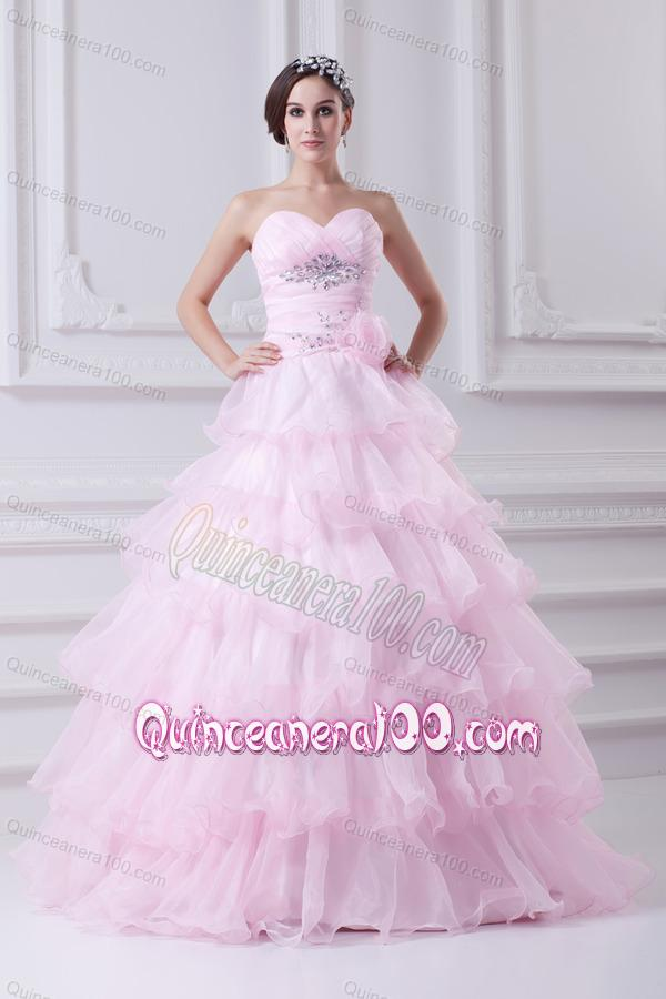 Ball Gown Strapless Beading Appliques Baby Pink Quinceanera Dress ...