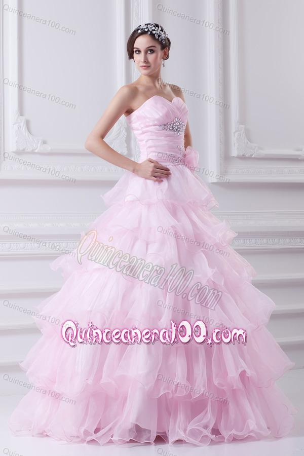 7b1eede0890 Ball Gown Strapless Beading Appliques Baby Pink Quinceanera Dress ...