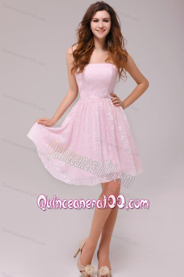 Baby Pink Strapless Knee-length Empire Dama Dresses for Cocktail ...