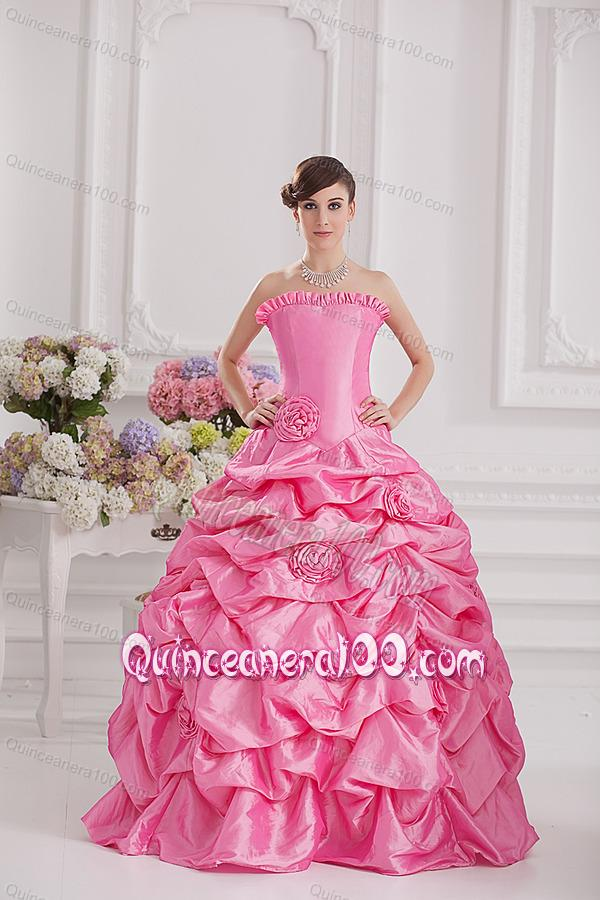 8602d3cfd7 Ball Gown Strapless Pick-ups Rose Pink Quinceanera Dress with Hand Made  Flowers
