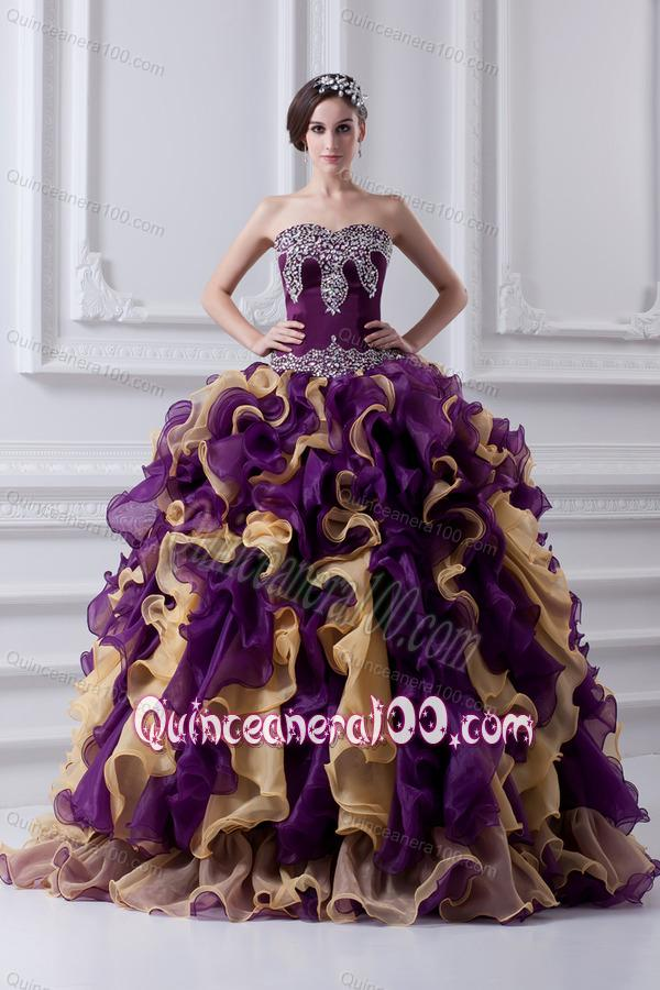Beautiful Ball Gown Multi Colored Sweetheart 2014 Quinceanera ...