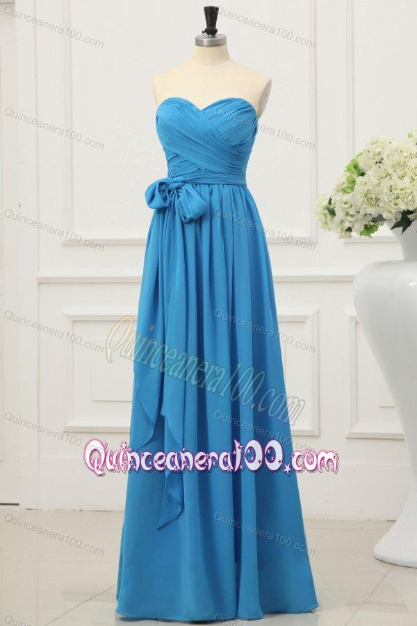 Sweetheart Empire Chiffon Ruche and Bowknot Dresses for Dama in Teal