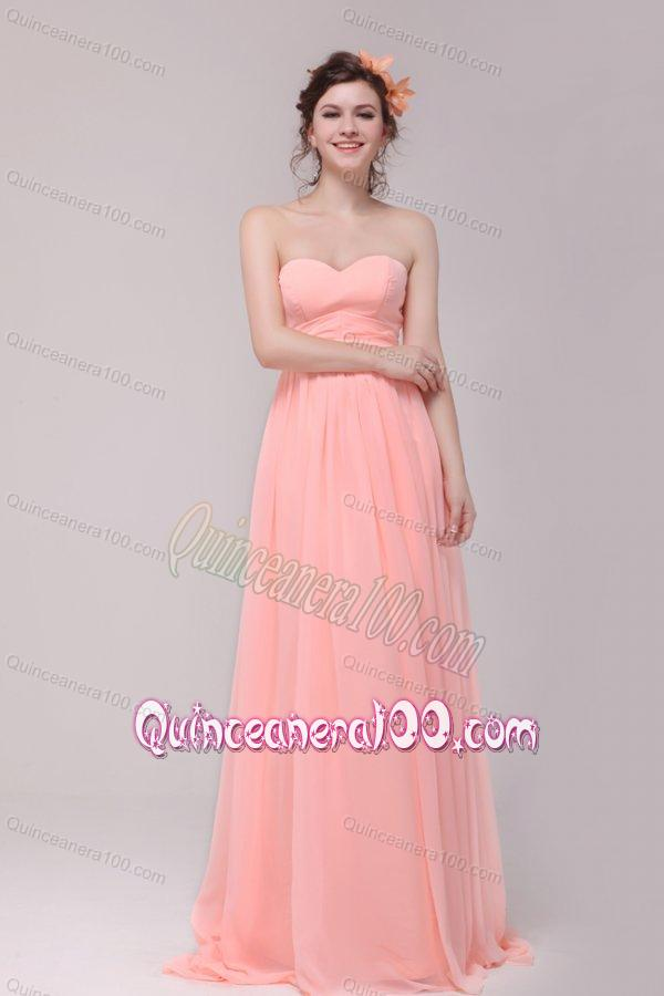 Sweetheart Ruche Chiffon Empire Peach Dresses For Dama