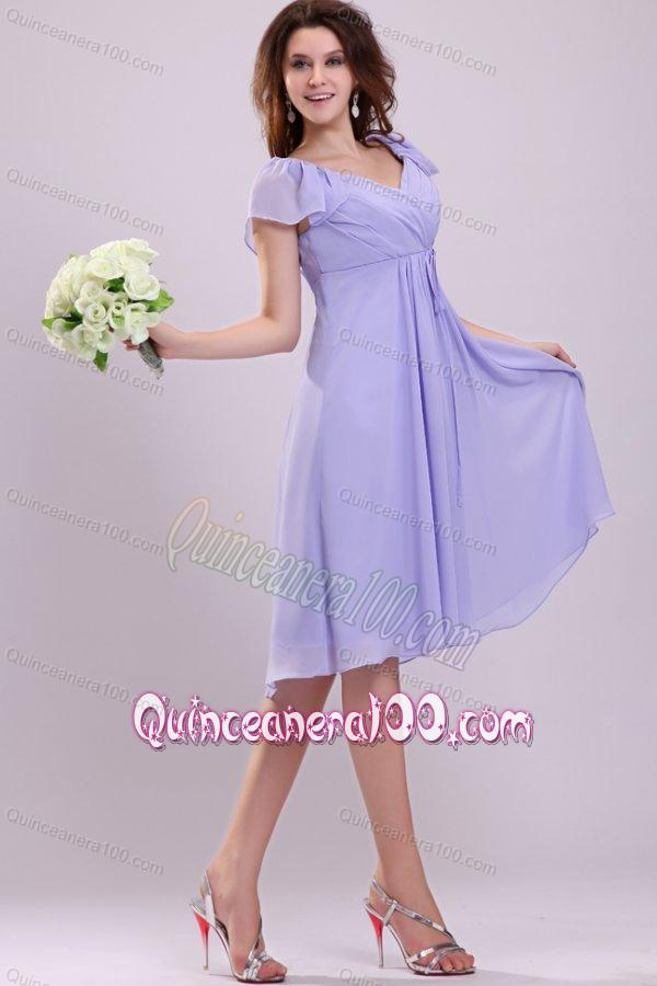 2013 Empire Cap Sleeves Lavender Ruching Dresses for Dama ...
