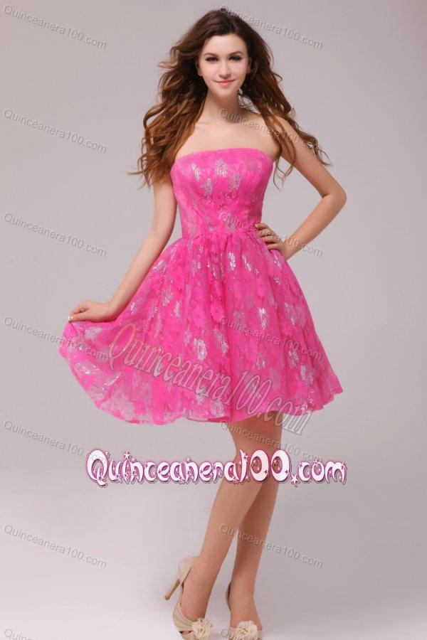 A-line Hot Pink Strapless Knee-length Dresses for Dama ...