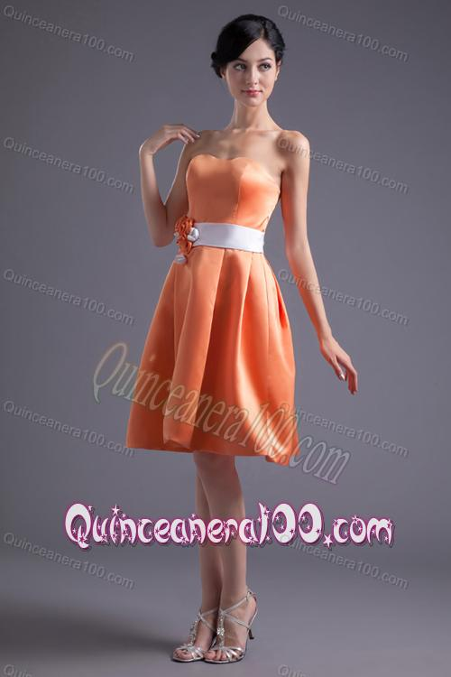 Burnt Orange Knee Length Dresses