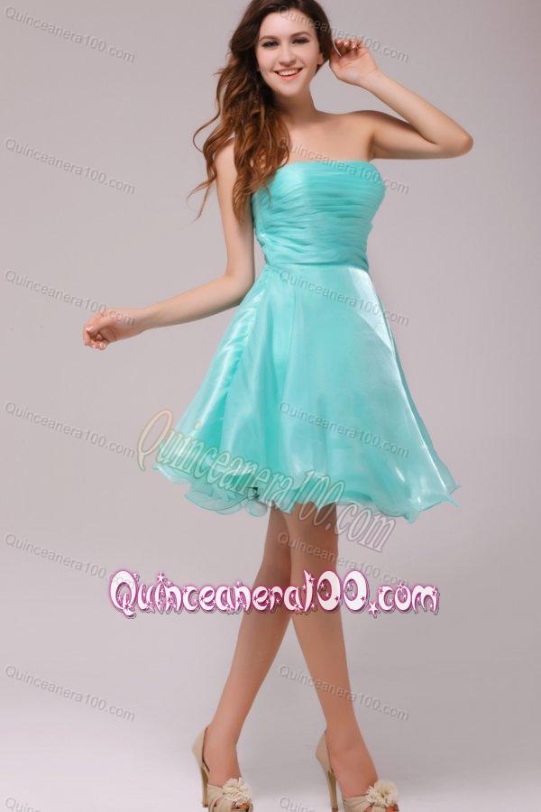 Blue Organza Strapless Dress