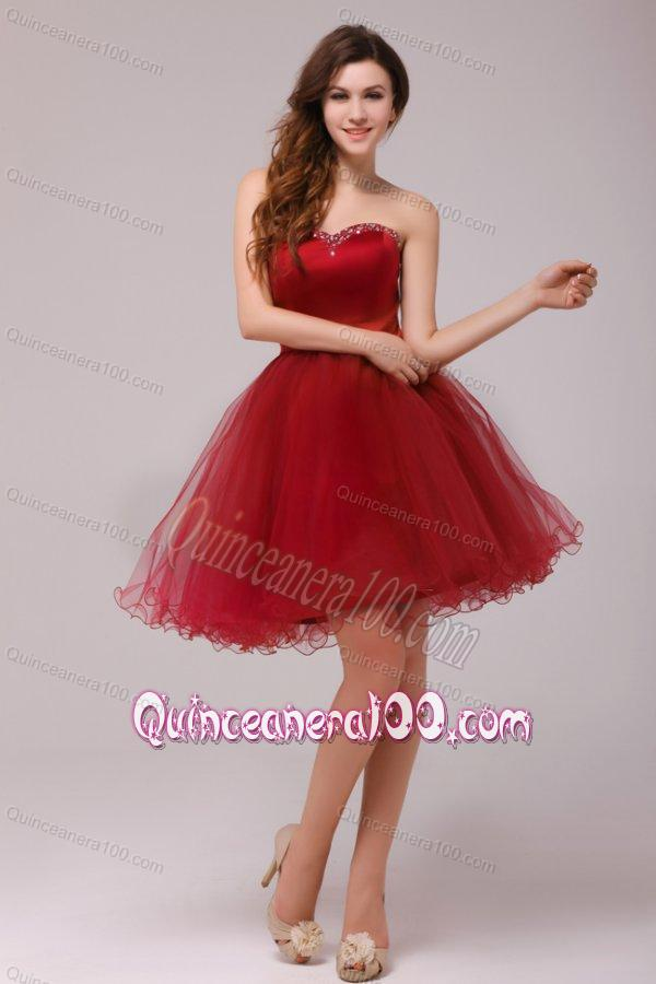A Line Wine Red Sweetheart Beading Knee Length Dama
