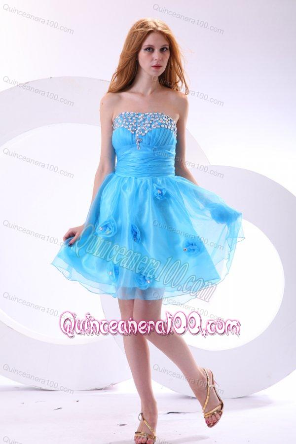 Aqua Blue Dama Dress for Quinceanera with Strapless Beaded and ...