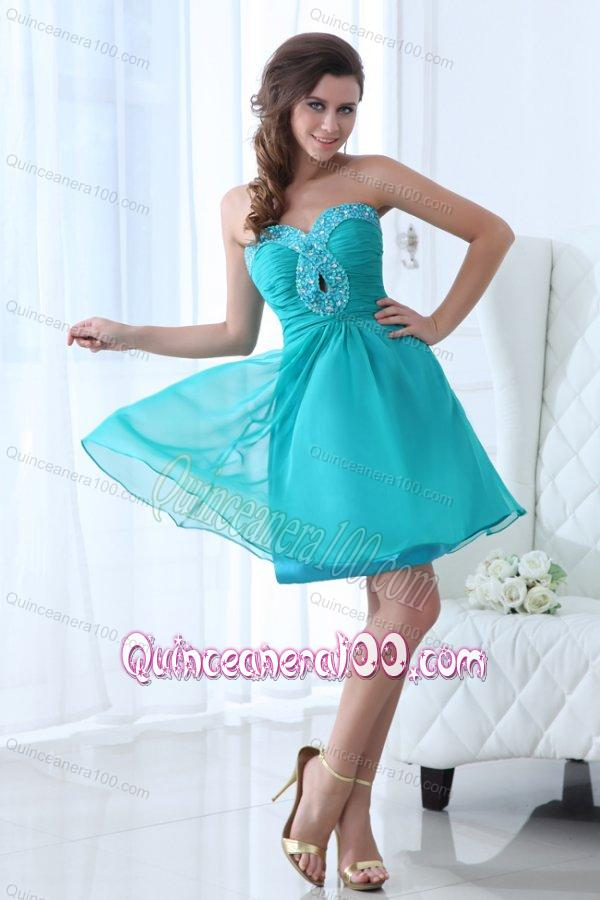 Aqua Blue Sweetheart Beaded Dama Dresses with Knee-length ...