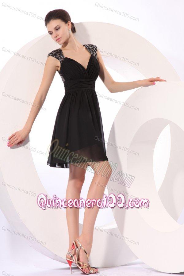 Black Straps Beaded Short Dama Dresses with Mini-length ...
