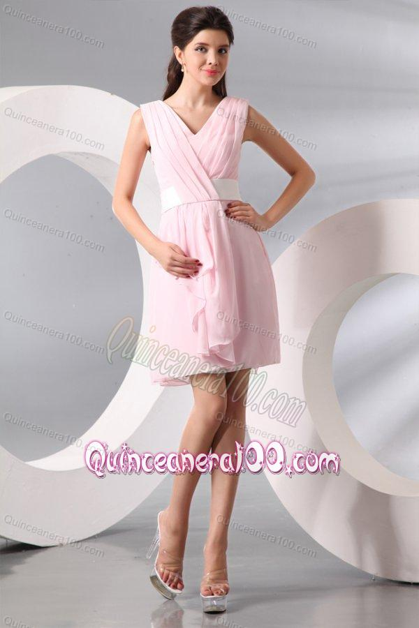 3fea6d32a89 Column Baby Pink V-neck Chiffon Short Dresses for Dama - Quinceanera 100