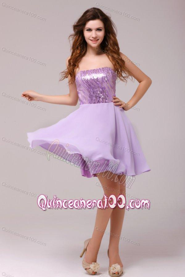 Purple Strapless Sequins Chiffon Knee-length Dresses for Dama ...