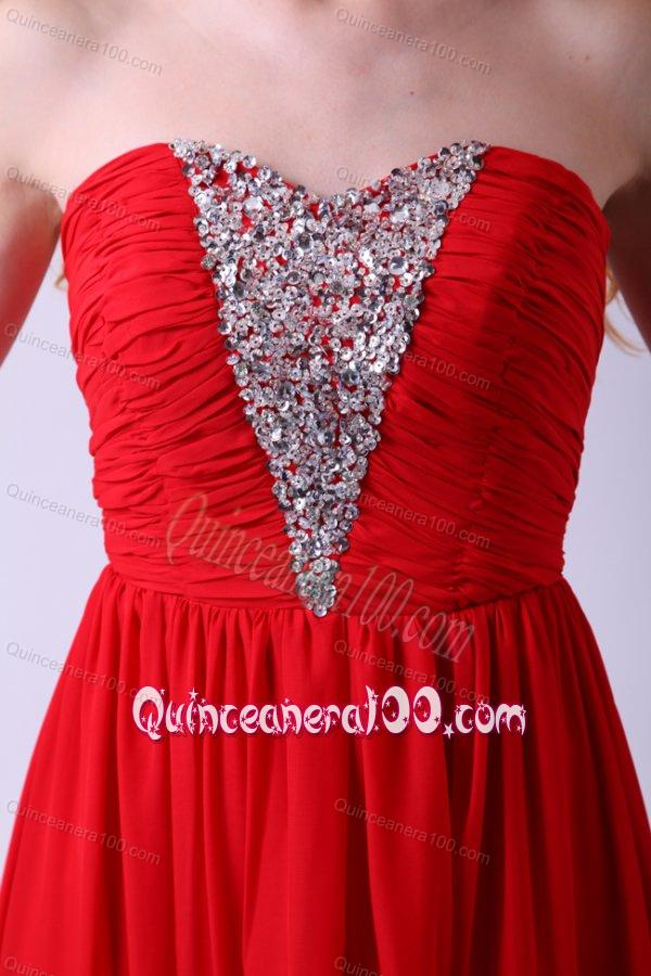 Red Empire Sweetheart Beading Floor-length Chiffon 2014 Dama Dress for Quinceanera