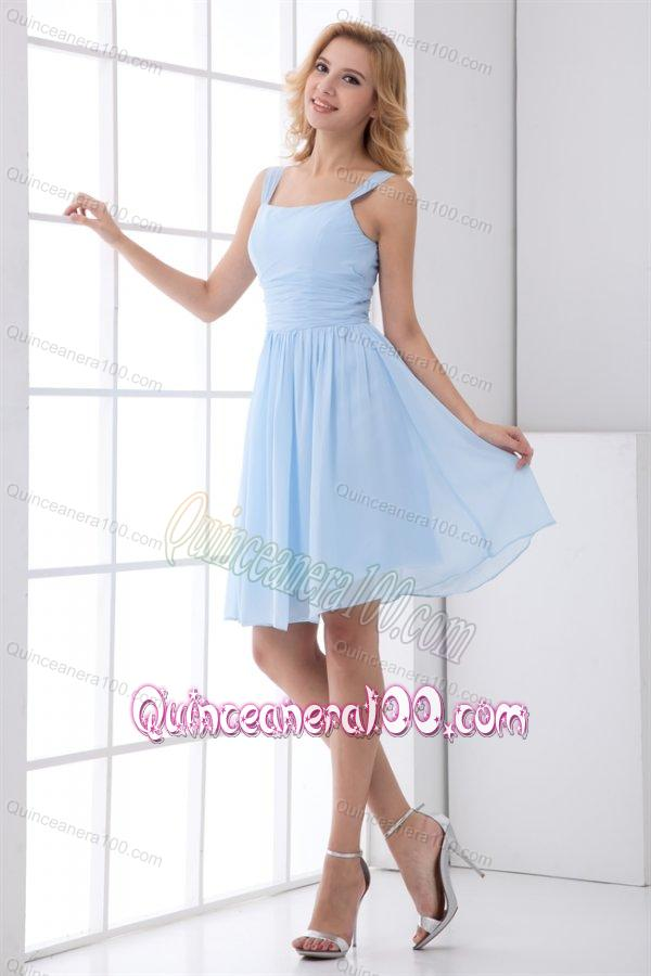 Blue Chiffon Knee Length Dresses