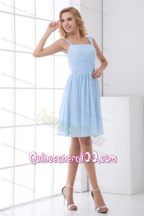 Simple Empire Straps Knee-length Chiffon Light Blue Dresses for ...