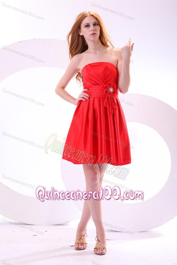 Simple Strapless A-line Mini-length Red Dama Dress for Quinceanera ...