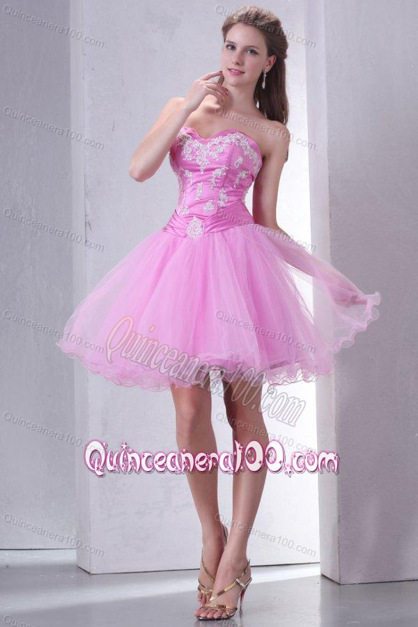Sweetheart Rose Pink Short Organza Mini-length Dama Dress for ...