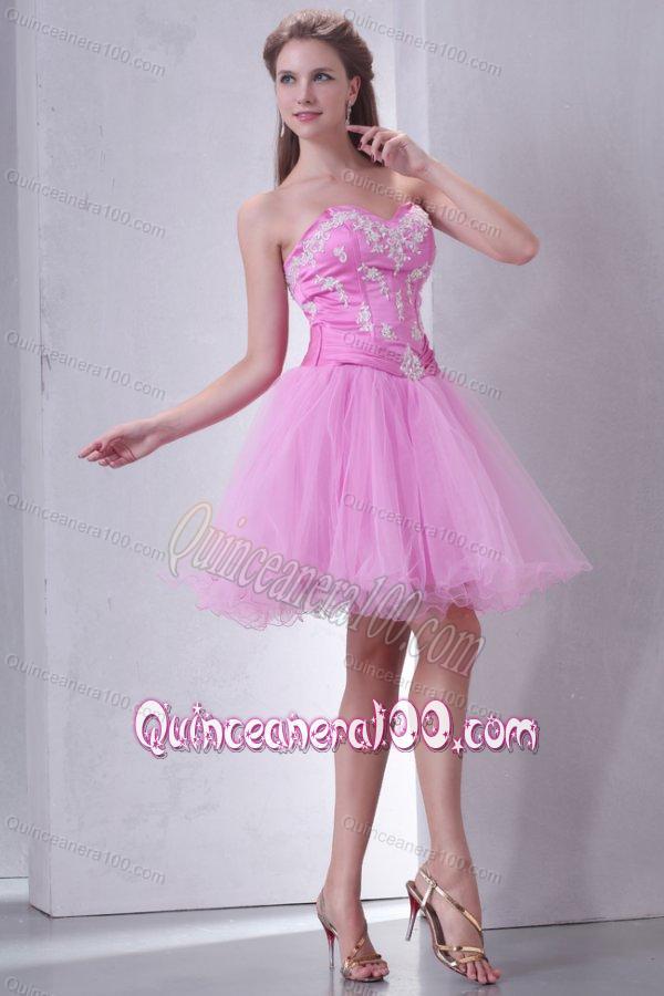 Sweetheart Rose Pink Short Organza Mini-length Dama Dress for ...